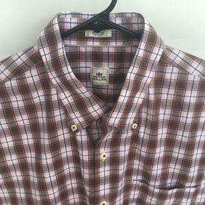Peter Millar Brown & Pink Button Down L/S Shirt XL